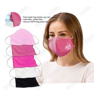 Pink Color 3D stereo profile Moisture Wicking Face Mask with Filter Pocket