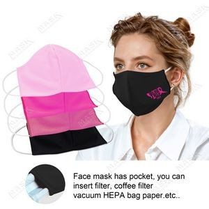US Stock-Pink Color 3D stereo profile Moisture Wicking Face Mask with Filter Pocket
