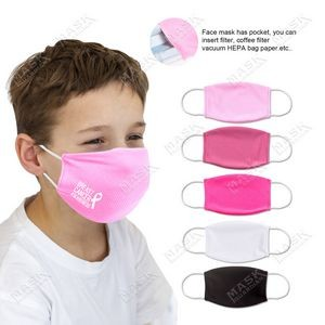 Kid's Pink Color 3D stereo profile Moisture Wicking Face Mask with Filter Pocket